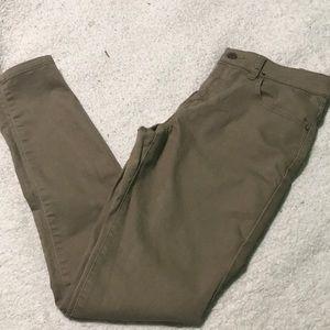 Dark Tan Skinny Pants Mid Rise